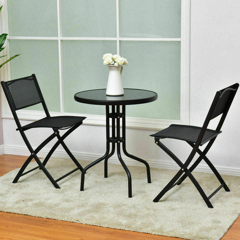NEW 3PCS Bistro Set Table and Folding Chairs (Outdoor, Summer, Patio, Porch, Deck, Garden, Yard) - Exotic Blings