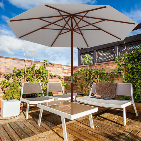 10 Ft Adjustable Wooden Umbrella (Beige)
