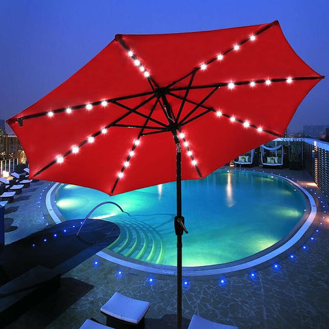 9' FT 8 Ribs Solar LED Umbrella for Patio