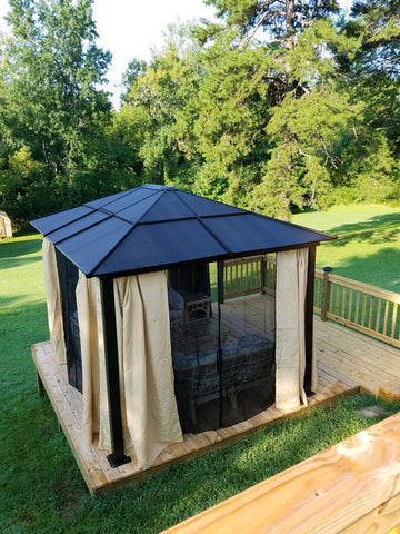 Premium Hardtop Steel Roof Outdoor Patio Tent Gazebo Canopy with Mesh Walls Size 12' x 10' - Exotic Blings