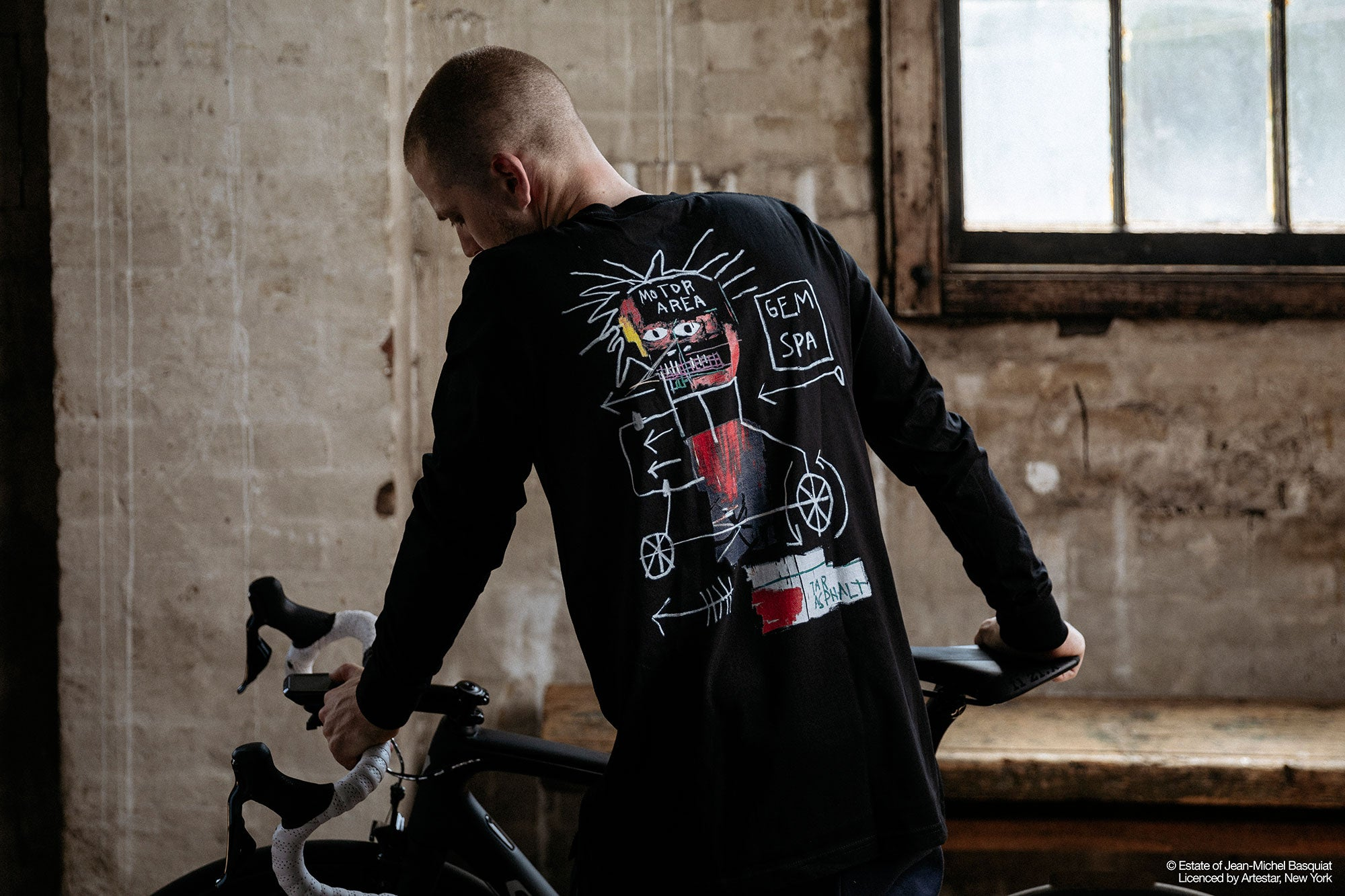 His raw and uncompromising works relate strongly to the Attaquer aesthetic  and we knew these pieces would translate well to cycling kit 51bf3c99b