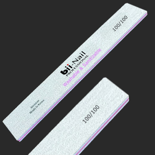 bii Washable & Sanitizable Quick Nail File 100/100 Single (large square)-Nail Supply UK