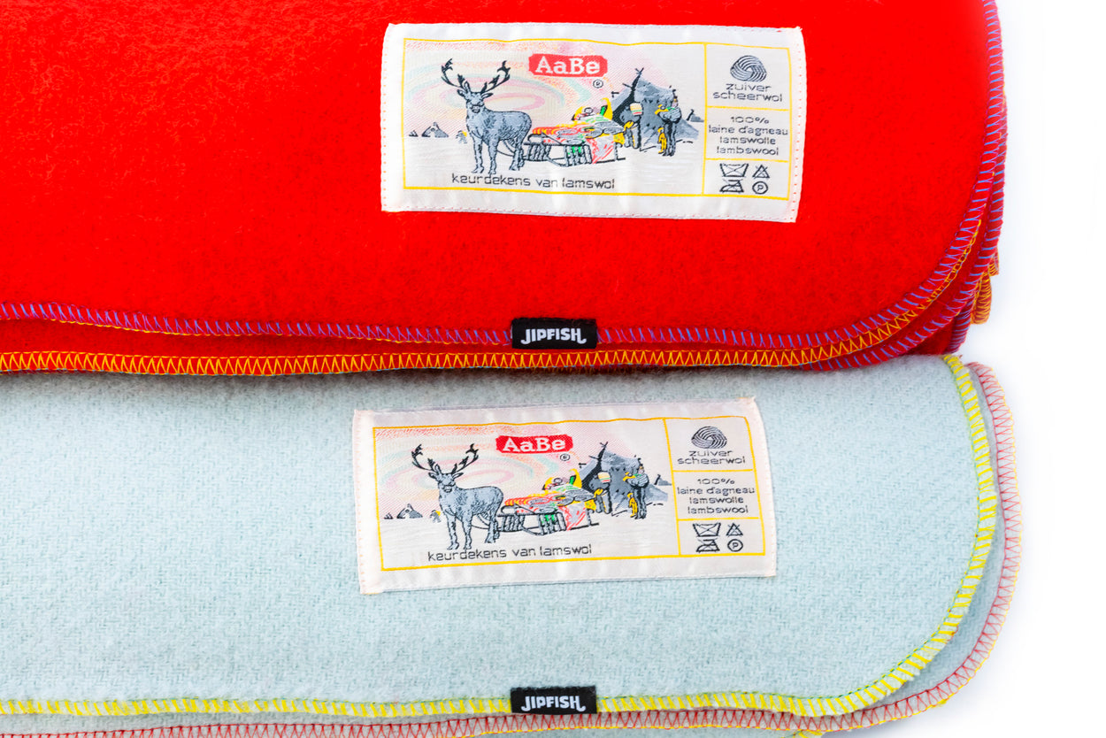 JIPFISH X AABE Lambswool Regular Blanket - FROSTY BLUE