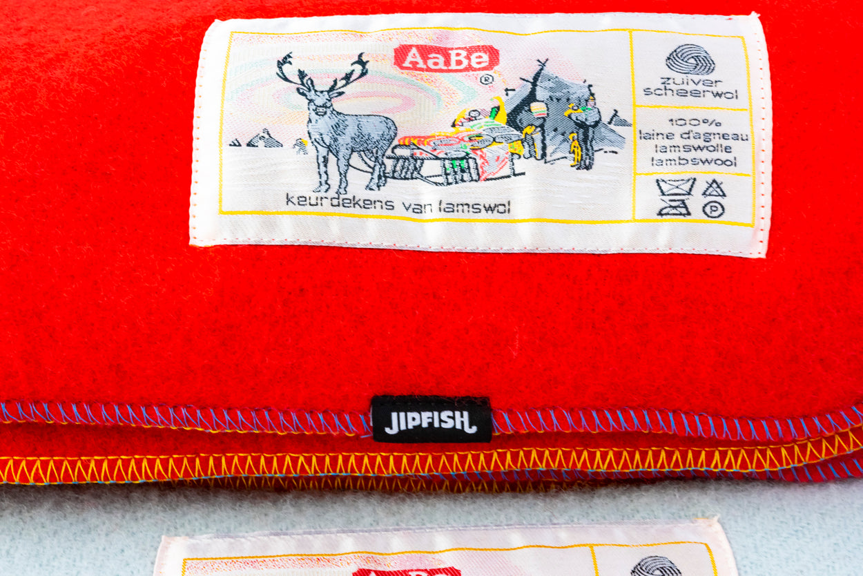 JIPFISH X AABE Lambswool Regular Blanket - TOMATO RED
