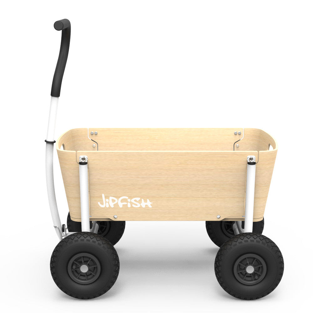 Jipfish Wagon - Natural Wood - White Frame