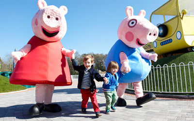 Peppa and George Pig running