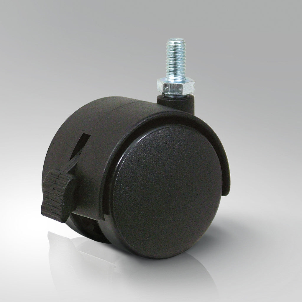Furniture Castors - Threaded Stem Fitting - Black Polypropylene Wheels