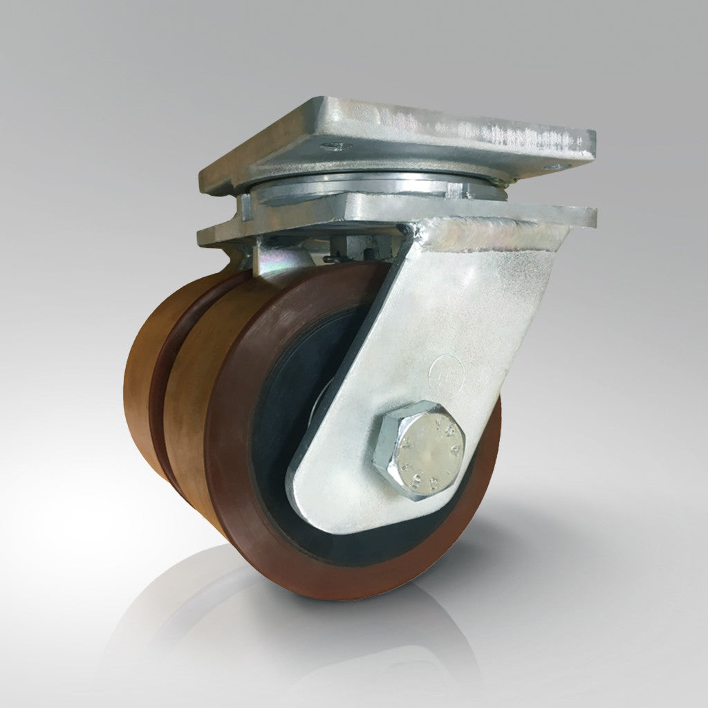 Extra Heavy Duty - Plate Fitting - Brown Polyurethane Tyred / Cast Iron Wheels - Twin Wheel