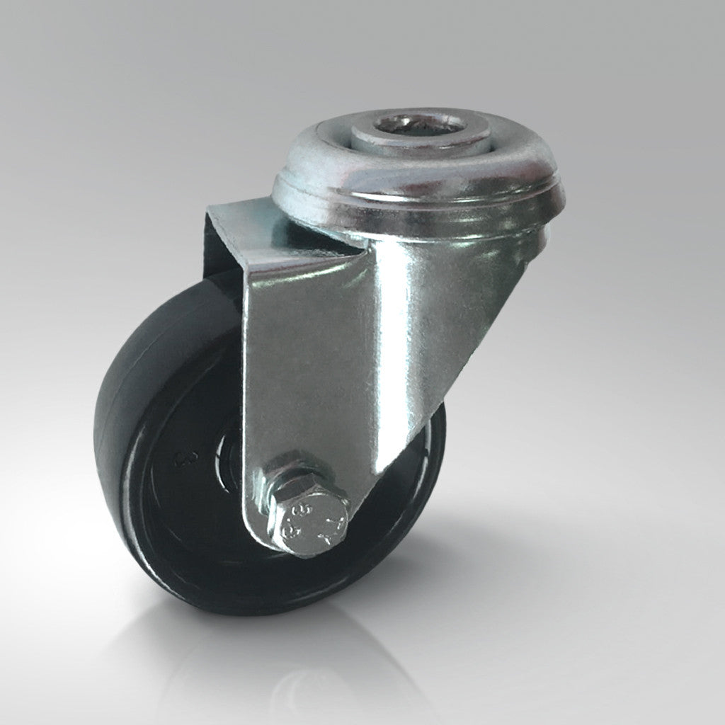 Light Duty Swivel Castor - Black Polypropylene - Bolt Hole