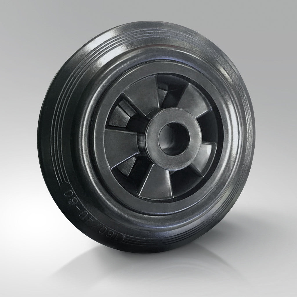 Solid Black Rubber Tyred Wheels - Polypropylene Centre