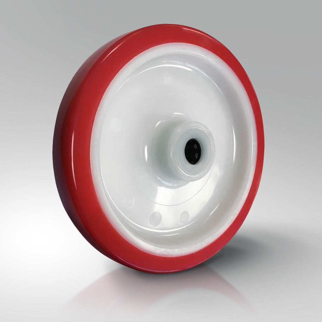 Red Polyurethane Tyred Wheels - White Nylon Centre