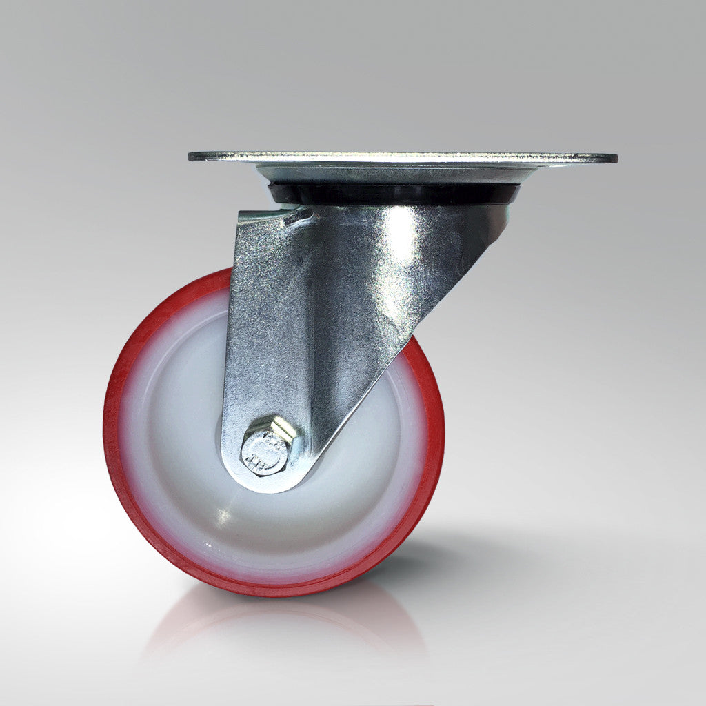 Medium Duty Swivel Castor - Red Polyurethane Tyred - Plate Fitting