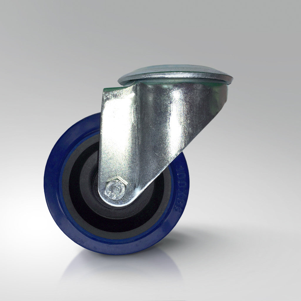 Medium Duty Swivel Castor - Blue Resilex Rubber Wheels - Bolt Hole