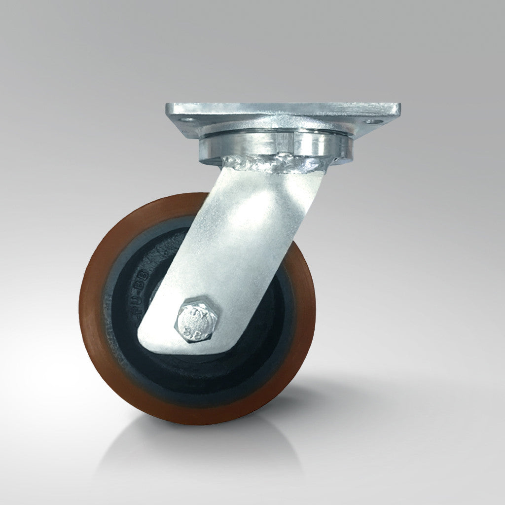 Extra Heavy Duty - Plate Fitting - Brown Polyurethane Tyred / Cast Iron Wheels