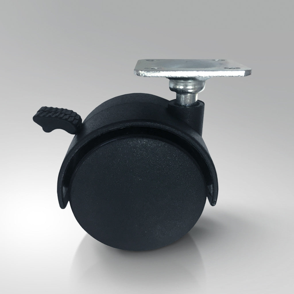 Furniture Castors - Top Plate Fitting - Black Polypropylene Wheels
