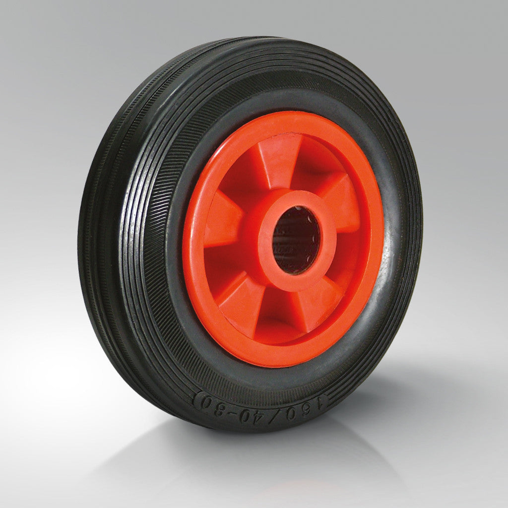 Solid Black Rubber Tyred Wheels - Red Polypropylene Centre