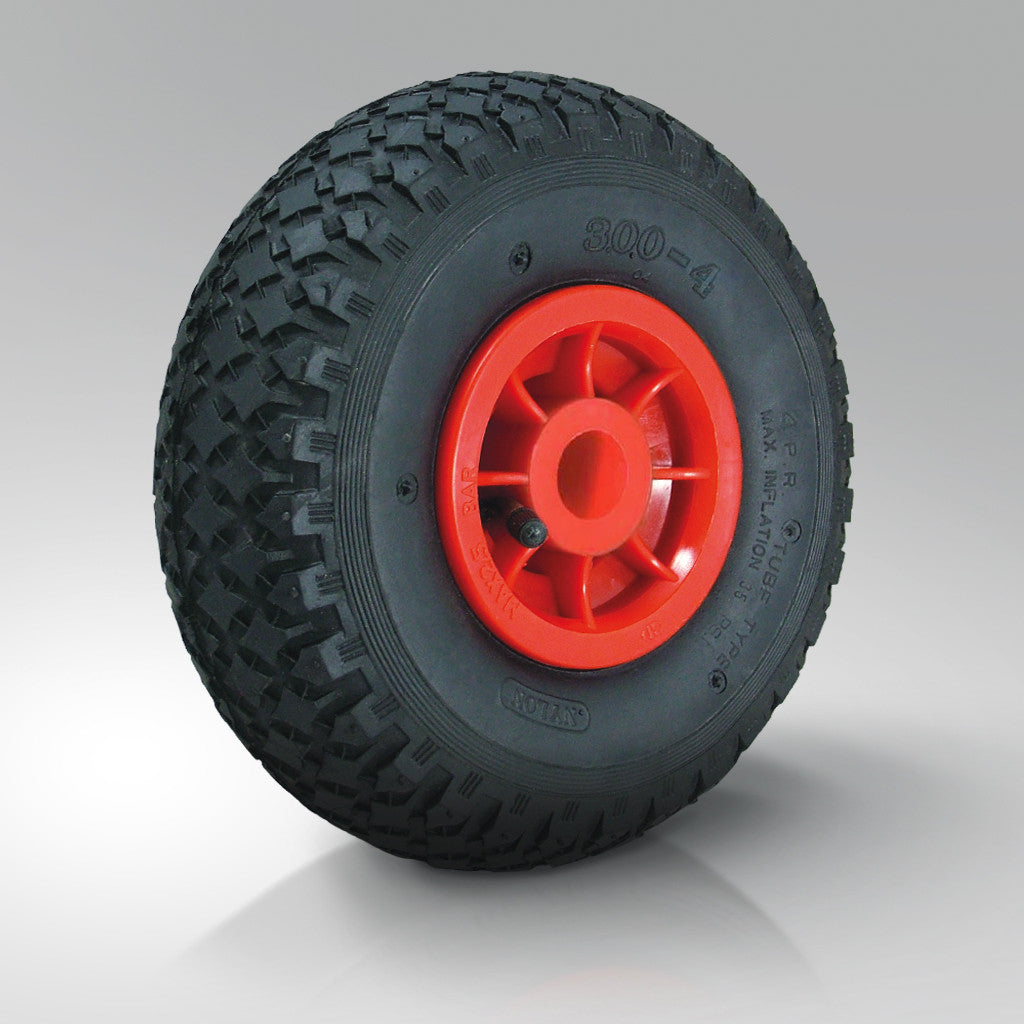 Pneumatic Tyred Wheels - Red Polypropylene Centre