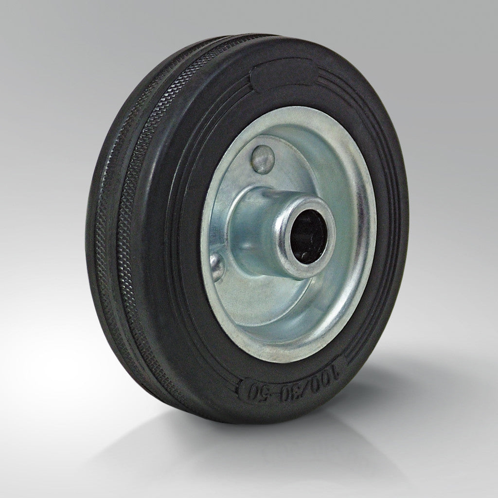 Solid Black Rubber Tyred Wheels - Pressed Steel Centre