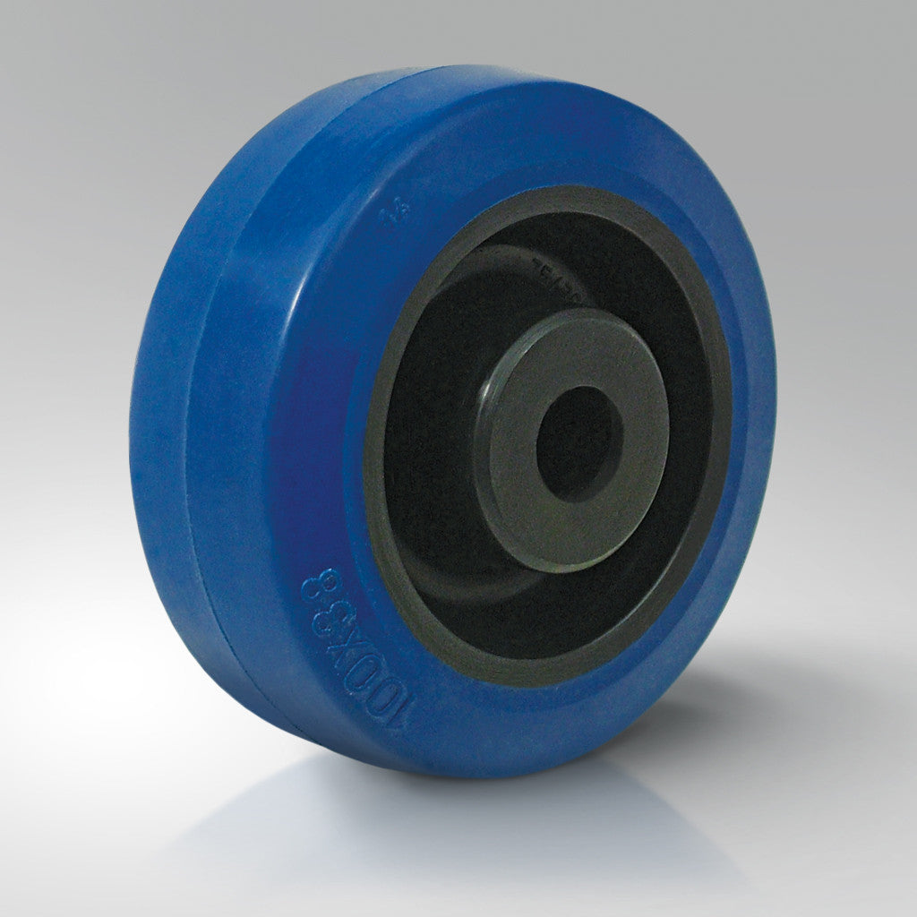 Elastic Blue Rubber Tyred Wheel - Black Nylon Centre
