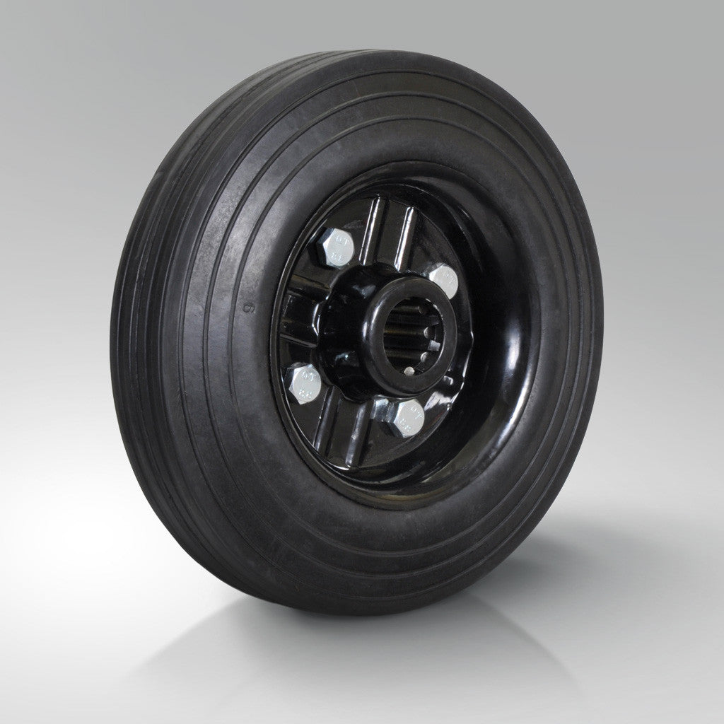 Solid Black Rubber Tyred Wheels - Metal Centre