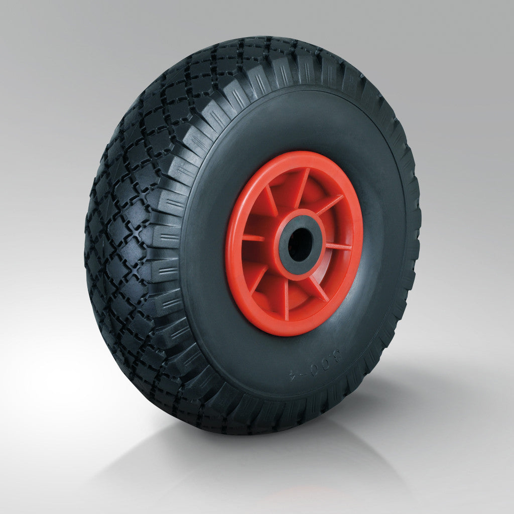 Pneumatic Tyred Wheels - Puncture Proof - Red Polypropylene Centre