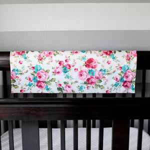 "Minky Baby Blanket 30"" x 40"" - White Floral Pattern"