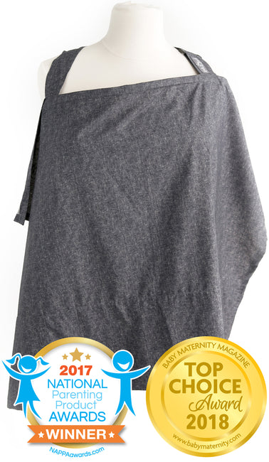 Chambray Nursing Cover with Sewn Burp Cloth