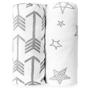 Bassinet Sheets | Fitted | Jersey Cotton | 2-Pack | Arrows & Stars