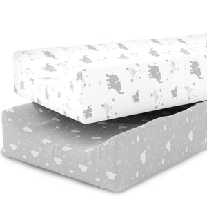 Changing Pad Covers Sheets - Premium Jersey Knit Cotton  - 2 Pack Cradle Sheet Set - Elephants, Stars, & Clouds