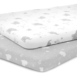 Pack n Play Playard Sheet Set - Portable Mini Crib Mattress Pad Sheets - Stretchy Fitted Jersey Cotton Will Fit Any Playard Size - Unisex -  Elephants, Stars, & Clouds
