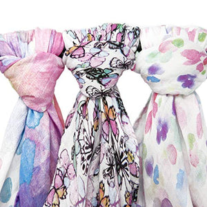 "Muslin Swaddle Blankets ""Flutter Set"" Large 47x47 inch 