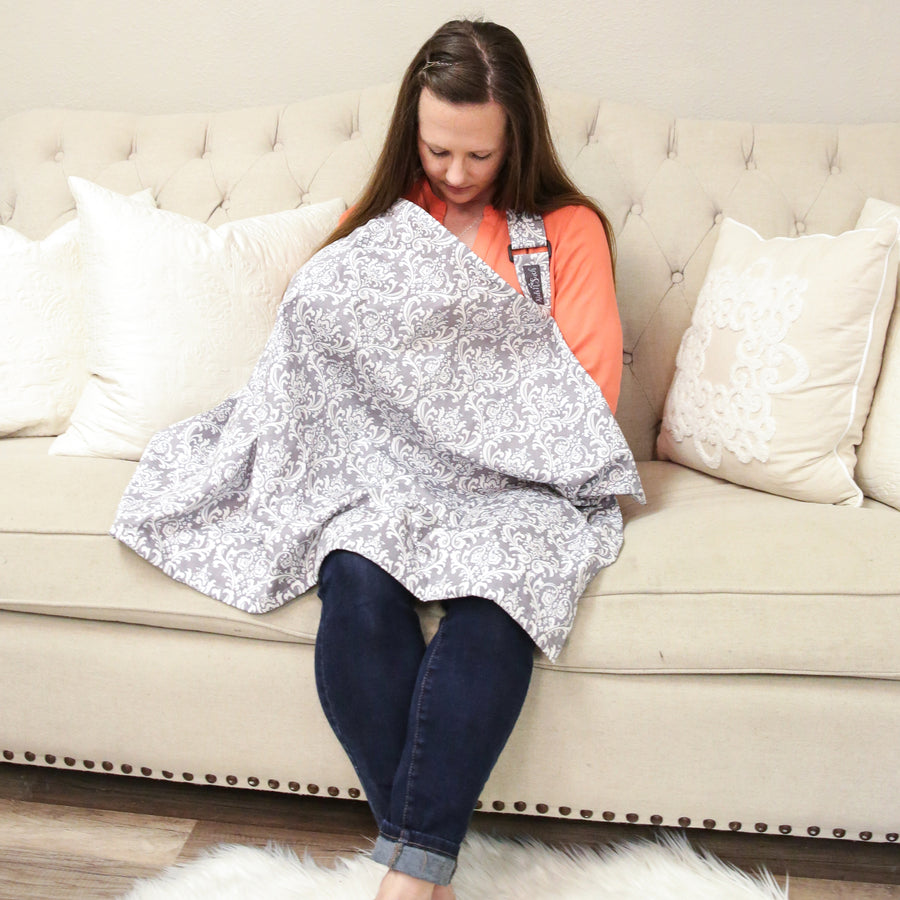 Nursing Cover with Built-in Burp Cloth + FREE Pouch | Damask Print