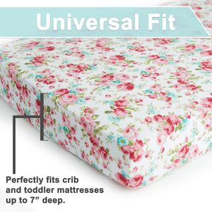 Crib Sheets | Fitted | Jersey Cotton |  2-Pack | Fleur