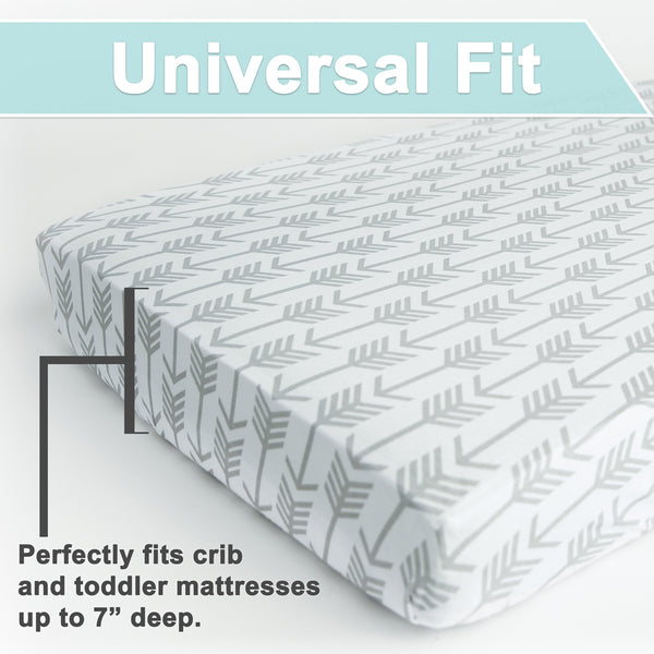 Fitted Crib Sheet Set Arrows Stars 100 Premium Jersey Knit Cotton
