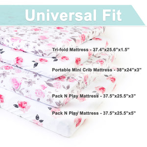 Playard Sheets | Standard Size Fitted Sheets | Jersey Cotton | 2-Pack | Petal