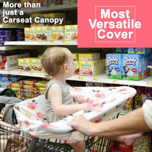 Stretchy Multi-use Car Seat Canopy + Nursing Cover + Shopping Cart Cover in Peony Print