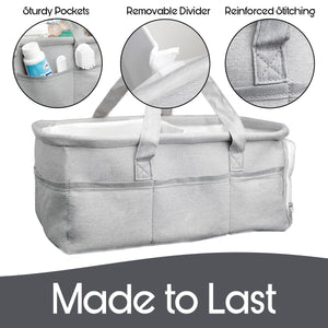 Diaper Caddy Organizer | Zipper Pocket | Jersey Cotton | 3 Insert Compartments  | Grey