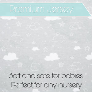 Bassinet Sheets - Premium Jersey Cotton - Universal Sheet Set for Rectangle, Oval, or Hourglass Bassinet Mattress White 2 Pack Unisex -  Elephants, Stars, & Clouds