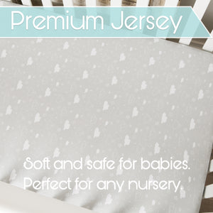 Crib Sheet Set Unisex- Universal Fitted Crib Sheets - 2 Pack - White Sheets - Jersey Knit Cotton - Elephants, Stars, & Clouds