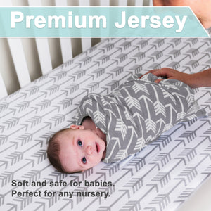 Crib Sheets | Fitted |  Jersey Cotton | 2-Pack | Arrows & Stars