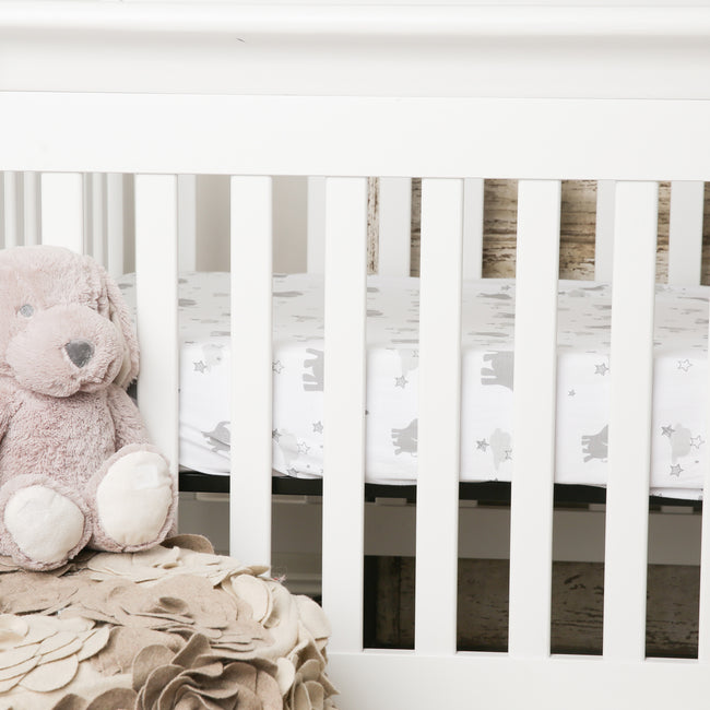 Elephant crib sheet in white