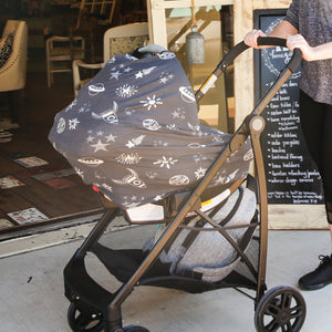 Stretchy Multi-use Car Seat Canopy + Nursing Cover + Shopping Cart Cover in Rockets Print