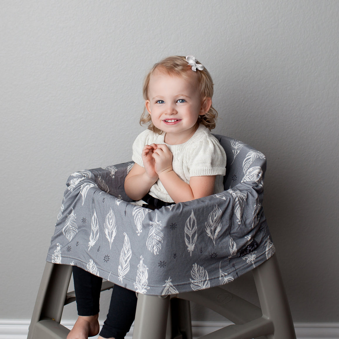 Stretchy Multi-use Car Seat Canopy + Nursing Cover + Shopping Cart Cover in Grey Feather Print
