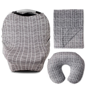 HerringBone Bundle - Multi Use Carseat Cover, Nursing Pillow Cover, & Blanket