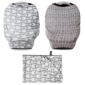 "Monochrome Bundle -  Multi Use Carseat Covers x2 (Arrow & HerringBone), & Arrow Blanket 30""x40"""