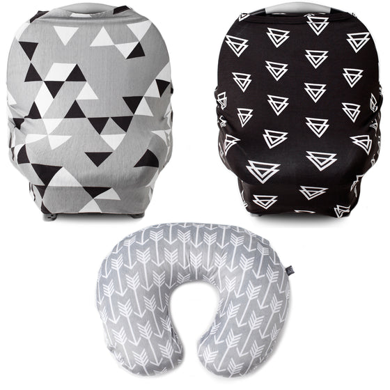 Monochrome Bundle - Multi Use Carseat Covers x2 (Geometric & Triangles), & Arrow Nursing Pillow Cover