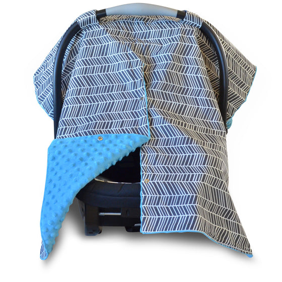 Herringbone Car Seat Canopy with Blue Dot Minky and Peekaboo Opening™