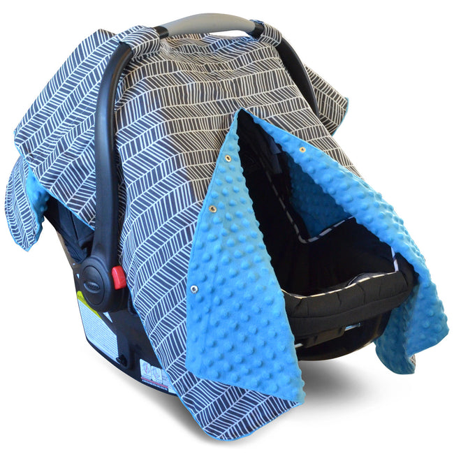 Herringbone Car Seat Canopy With Blue Dot Minky and Peekaboo Opening
