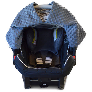 Herringbone Car Seat Canopy with Grey Dot Minky and Peekaboo Opening™