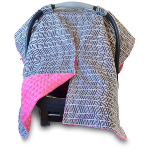 Herringbone Car Seat Canopy with Hot Pink Dot Minky and Peekaboo Opening™